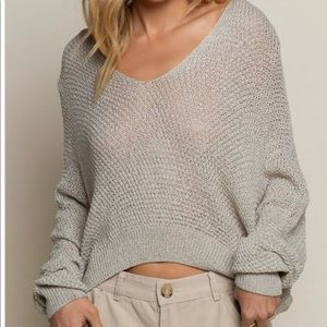 POL Lightweight Knit V Neck Crop Sweater